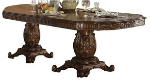 acme vendome double pedestal dining table with two leaves in cherry 62000 special
