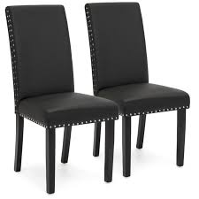 best choice s set of 2 studded faux leather parsons dining chairs black 0