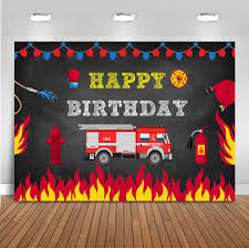 Fire Engine Design Studio Us 10 12 39 Off Happy Birthday Fire Truck Backdrop For Photography Party Fireman Fire Supplies Background For Photo Booth Studio Firefighter Boy In