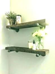 rustic wood shelf floating shelves bathroom timber wooden with hooks towel ru