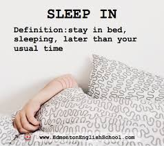 sleep in phrasal verb