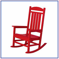 red wooden rocking chairs