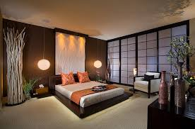 View in gallery Stunning Asian style bedroom with platform bed and pendant  lights