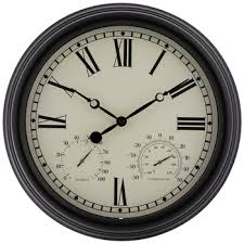 black cream outdoor wall clock