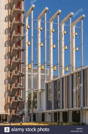 garden grove california usa december 13 2018 crystal christ cathedral golden bell position and part of tower of hope against blue sky walls