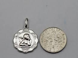 10k white gold guardian angel pendant