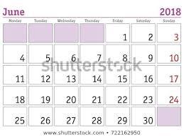 Calendar 2018 Simple Digital Calendar June Stock Vector Royalty