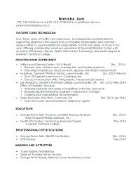 Patient Care Technician Resume With No Experience Patient Care Technician Resume With Experience For Objective