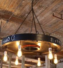 industrial vintage rustic chandelier wooden factory gear mold hanging pendant chandelier with six edison bulb