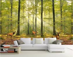 Wall Mural For Living Room Custom Photo Wallpaper Modern European Deciduous Forest Scenic
