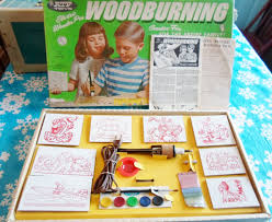 vintage wood burning kit. wood burning set, atf toys, childs new old stock, vintage, hobby kit, woodburning set by american toys and furniture company, 1950\u0027s, vintage kit