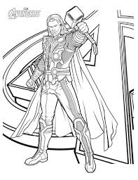 Small Picture Avengers Character Thor Coloring Page Download Print Online