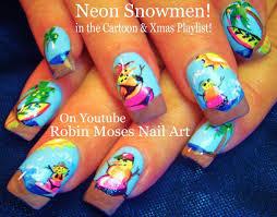 Summer Fun Designs Nail Art Tutorial Diy Neon Snowman Nails Summer Fun Nail
