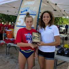 Avery Lambert collects her plaquw from KPMG representative Samantha  Hennings – Cayman Sports Buzz
