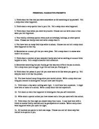 20 Personal Narrative Writing Prompts By Addie Greene Tpt