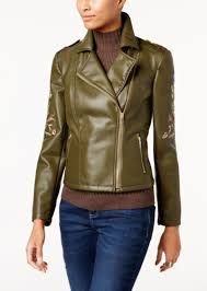 i n c petite embroidered faux leather moto jacket created for macy s