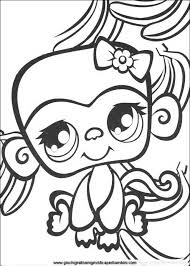 Girly Coloring Sheets Littlest Pet Shop Girly Monkey Cute Coloring
