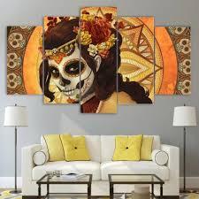 dead woman sugar skull wall art canvas