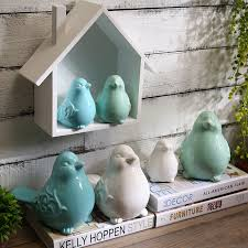 <b>Nordic Ceramics Birds Figurines</b> Ornaments Blue Green White Bird ...