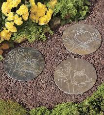 decorative garden stepping stones. Home Slate Garden Stepping Stones With Owl Designs Decorative