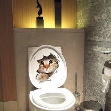 toilet room decoration cat dog wall sticker toilet stickers hole view dogs bathroom room decoration