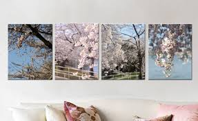 spring nature gallery canvas wrap set of 4 dc cherry blossom decor