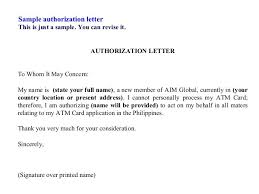 Authorization Letter To Collect Document On Behalf Example Good