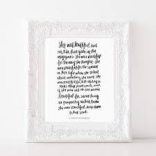 She Was Beautiful F Scott Fitzgerald Print Art Love Quotes Inspirational Gallery Wall Office Accessories Home Decor Wedding Gift