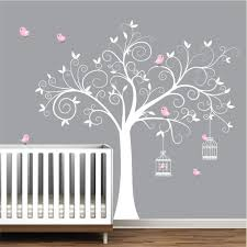 baby bedroom wall decor wall decals stickers tree decal with birds on black and grey decor on girl nursery vinyl wall art with wall decals stickers tree decal with birds on black and grey decor
