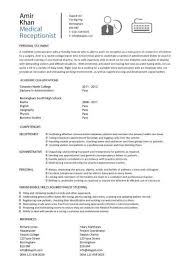 Medical Receptionist Cv Template Job Description Resume Sample