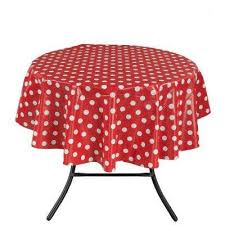 round indoor and outdoor red polka dot design table cloth for dining table