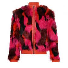 kenzo kids girls fuchsia orange and bordeaux faux fur coat with orange collar