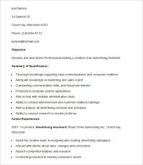 Resume Example for Advertising Assistant