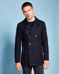 Mens Light Blue Peacoat Ted Baker Wool Peacoat Designer Jackets For Men Designer