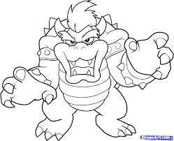 Mario Bros Bowser Coloring Pages By