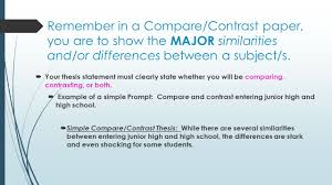 compare and contrast essay writing ppt video online remember in a compare contrast paper you are to show the major similarities and