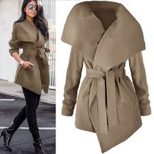 womens winter long jacket las belted trench parka