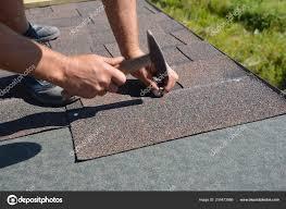 Roofer Installing Asphalt Shingles House Construction Roof