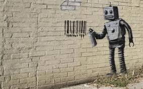 robot graffiti barcode brick wall wall