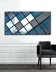 blue metal wall decor custom made blue grid abstract painting wood art metal art modern blue blue metal wall decor