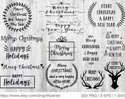 112 Christmas Overlays Black And White Christmas Clip Art For Etsy