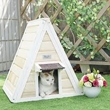 petsfit outdoor indoor cat shelter for feral cat wooden cat house with eave cat condo
