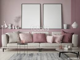mock up poster on rose wall in hipster living room pastel colored 3d render