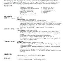 Esthetician Resume Template Resume Sample Shocking New Templates