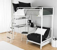 Gorgeous Black And Gray Convertible Bunk Bed With Pillows Sofa Desk Stairs  White Area Rug On