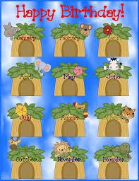 Chart Jungle Free Jungle Themed Classroom Birthday Chart Jungle Theme