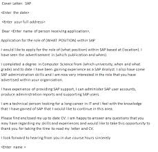 Sap Cover Letter Example Icover Org Uk