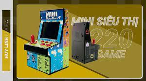 Review mở hộp và trãi nghiệm nhanh máy chơi game thùng siêu thị mini Arcade  tích hợp sẵn 220 game - YouTube