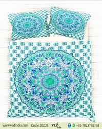 vintage duvet cover bedding set king size in rangoli style zoom
