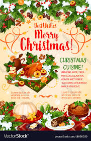 christmas dinner poster christmas cuisine poster with new year dinner vector image